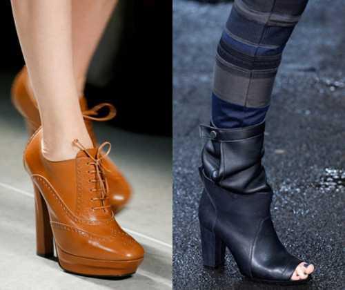 Кроме сверкающего декора, дизайнерами разработана модная обувь осеньзима, отличающаяся оригинальными акцентами