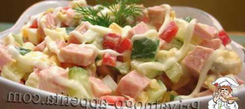 Рецепты салатов с кукурузой и колбасой, секреты