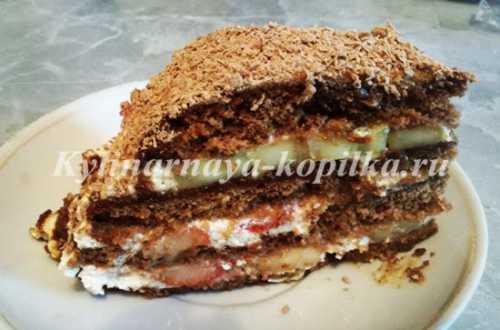 Рецепты торта из пряников с бананами и сметаной,